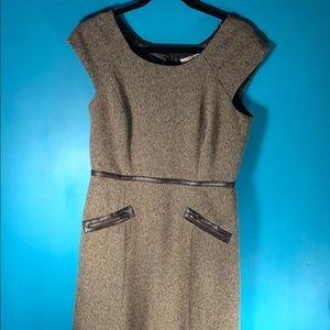 Sandra Darren tweed faux leather trim dress